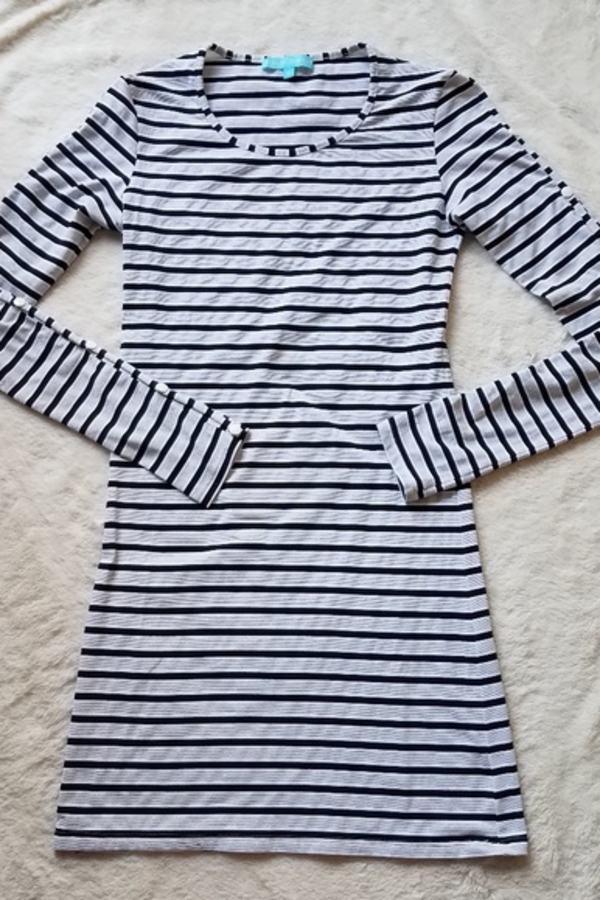 Melissa Odabash Black Jamie Striped Stretch-Jersey Mini Dress 6