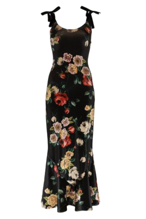 The Attico Velvet Midi Floral Dress