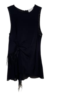 3.1 Phillip Lim Feather-trimmed studded silk crepe de chine top 4 Preview Images