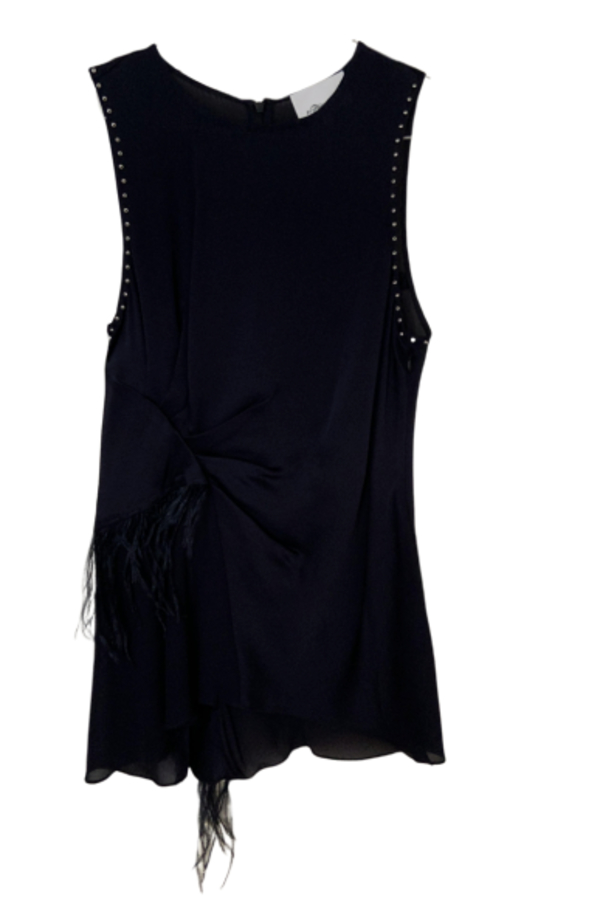 3.1 Phillip Lim Feather-trimmed studded silk crepe de chine top 4