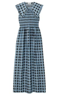 Ganni Smocked checked cotton dress Preview Images