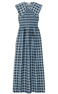 GANNI - SMOCKED CHECKED COTTON DRESS