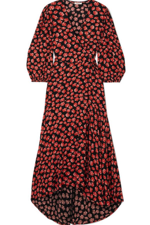 Image 1 of Ganni floral print wrap dress