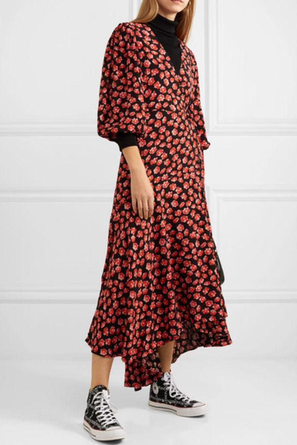 Image 2 of Ganni floral print wrap dress