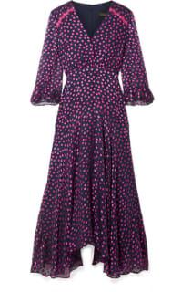Saloni Edith polka-dot flocked silk-blend chiffon midi dress 5 Preview Images