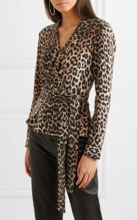 Ganni Ruffled leopard-print silk wrap top 2 Preview Images