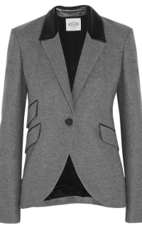 Tod's  Tod's Leather-trimmed wool blazer Preview Images