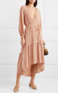 Faithfull The Brand Matilda asymmetric striped crepe midi dress 2 Preview Images