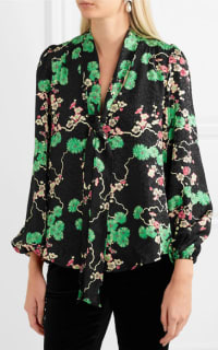 RIXO London Moss pussy-bow printed silk-jacquard blouse Preview Images