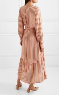 Faithfull The Brand Matilda asymmetric striped crepe midi dress Preview Images