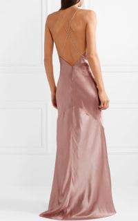 Michael Lo Sordo Asymmetric Silk Satin Dress 4 Preview Images