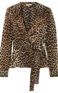 Ganni Ruffled leopard-print silk wrap top 5 Preview Images
