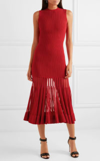 Alexander McQueen Mesh-paneled ribbed dress 3 Preview Images