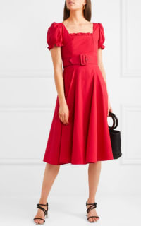 Staud Maryann ruffled cotton-blend poplin midi dress 2 Preview Images