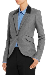 Tod's  Tod's Leather-trimmed wool blazer 2 Preview Images