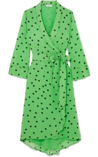 Ganni Dainty Polka Dot Crepe Wrap Dress in Green Preview Images