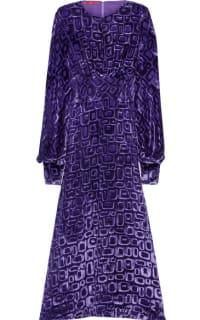 Tamara Mellon Velvet-flocked chiffon midi dress Preview Images