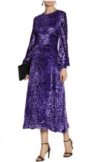 Tamara Mellon Velvet-flocked chiffon midi dress 2 Preview Images