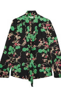 RIXO London Moss pussy-bow printed silk-jacquard blouse 2 Preview Images