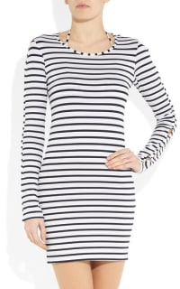Melissa Odabash Black Jamie Striped Stretch-Jersey Mini Dress 2 Preview Images