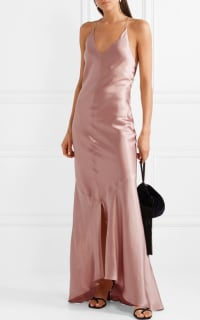 Michael Lo Sordo Asymmetric Silk Satin Dress 2 Preview Images