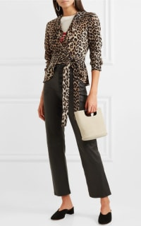 Ganni Ruffled leopard-print silk wrap top 3 Preview Images