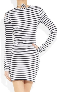 Melissa Odabash Black Jamie Striped Stretch-Jersey Mini Dress Preview Images