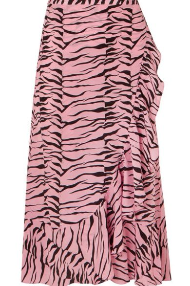 RIXO London Gracie ruffled printed silk crepe de chine wrap skirt 2 Preview Images