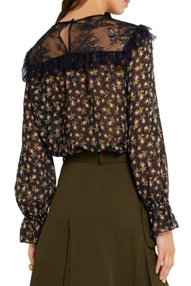 Philosophy Di Lorenzo Serafini  Ruffled lace-paneled printed silk-chiffon blouse Preview Images