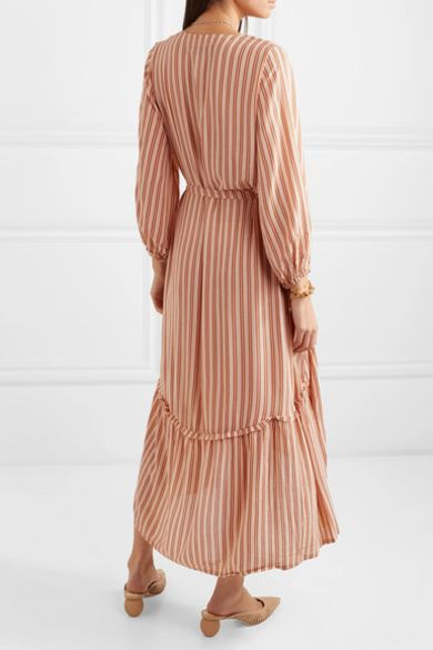 Faithfull The Brand Matilda asymmetric striped crepe midi dress Preview Images