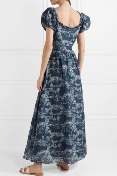 loveshackfancy Bridget printed cotton and silk-blend voile maxi dress 2 Preview Images
