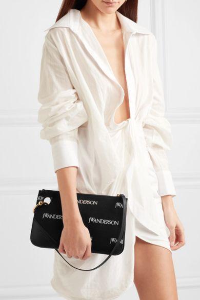 JW Anderson Leather-trimmed embroidered canvas shoulder bag 2 Preview Images