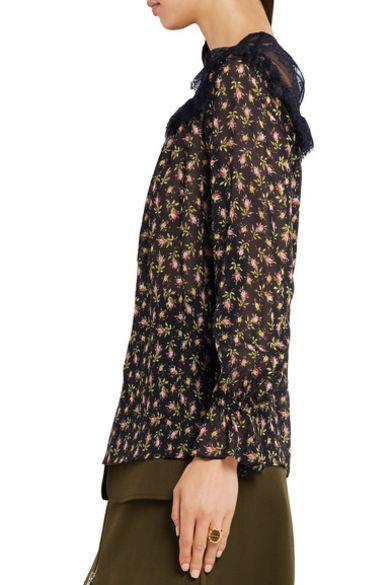 Philosophy Di Lorenzo Serafini  Ruffled lace-paneled printed silk-chiffon blouse 3 Preview Images