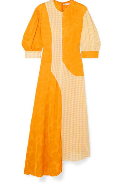 Rejina Pyo Dylan Dress Voile Check Yellow and Jacquard Marigold