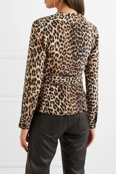 Ganni Ruffled leopard-print silk wrap top Preview Images