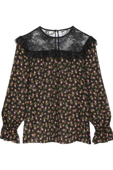 Philosophy Di Lorenzo Serafini  Ruffled lace-paneled printed silk-chiffon blouse 4 Preview Images