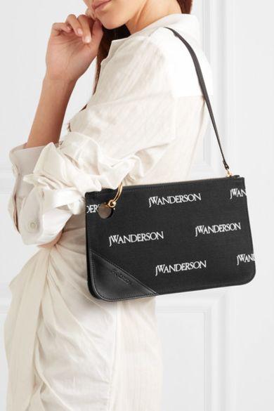JW Anderson Leather-trimmed embroidered canvas shoulder bag 4 Preview Images