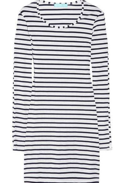Melissa Odabash Black Jamie Striped Stretch-Jersey Mini Dress 7 Preview Images