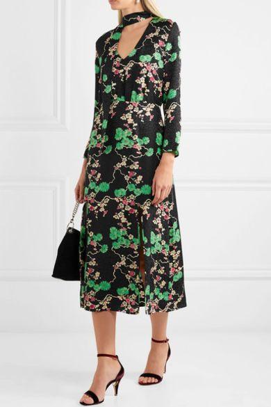 RIXO London Stella printed silk-jacquard midi dress 3 Preview Images
