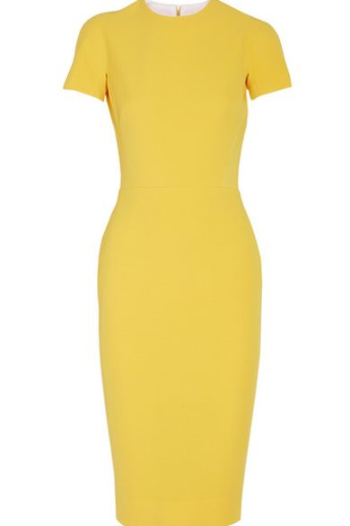 Victoria Beckham Silk and wool-blend crepe dress yellow Preview Images