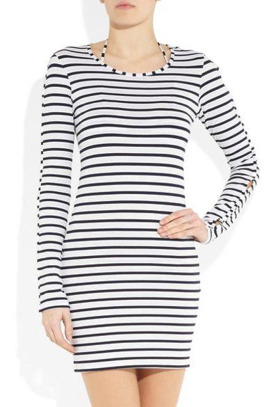 Melissa Odabash Black Jamie Striped Stretch-Jersey Mini Dress 2 Preview Images