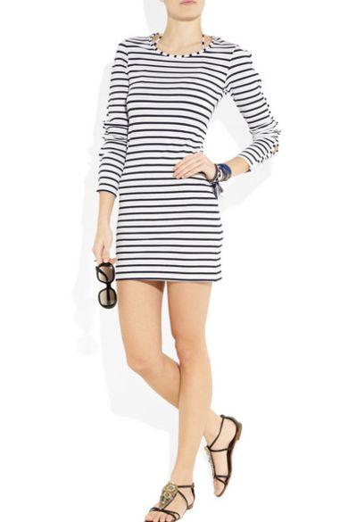 Melissa Odabash Black Jamie Striped Stretch-Jersey Mini Dress 3 Preview Images