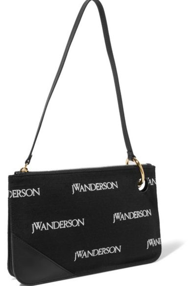 JW Anderson Leather-trimmed embroidered canvas shoulder bag Preview Images