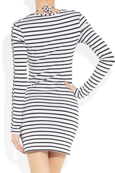 Melissa Odabash Black Jamie Striped Stretch-Jersey Mini Dress Preview Images