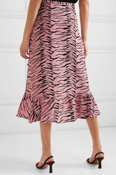 RIXO London Gracie ruffled printed silk crepe de chine wrap skirt Preview Images