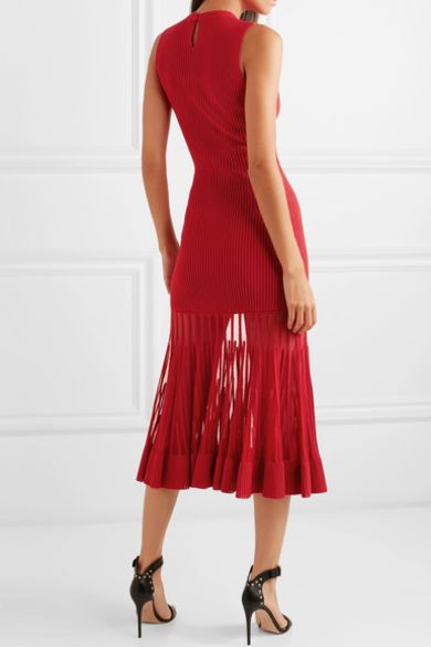 Alexander McQueen Mesh-paneled ribbed dress 2 Preview Images