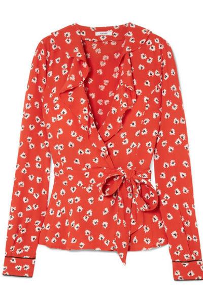 Ganni Ruffled floral-print crepe de chine wrap top
