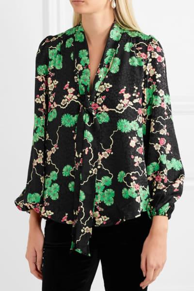 RIXO London Moss pussy-bow printed silk-jacquard blouse