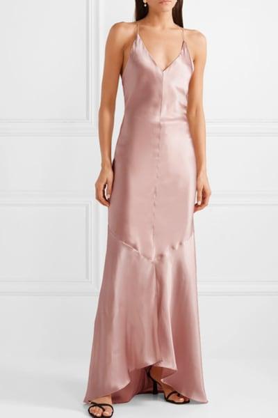 Michael Lo Sordo Asymmetric Silk Satin Dress 3