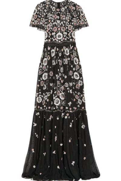 Needle & Thread PPETAL EMBELLISHED TULLE GOWN